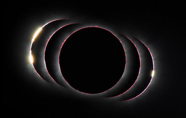 """Overall winner and astronomy winner: Three Diamonds in the Sky by Petr Horálek. When a solar eclipse started in November 2013 (on the left side of the image), there were two """"diamond ring"""" solar flares, which was unusual. The magnitude of coverage from Pakwero, Uganda, was just 1.00259, which means the sun was only just covered and light could shine through two parts of the lunar limb. (Photo by Petr Horálek/Royal Society Publishing Photography Competition 2018)"""