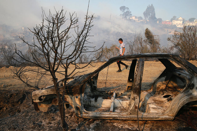 A resident is seen next to a burned car in front of dozens of houses burned on a hill, due to a forest fire but there have been no reports of death, local authorities said in Valparaiso, Chile January 2, 2017. (Photo by Rodrigo Garrido/Reuters)