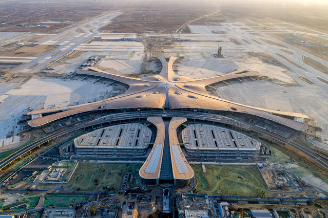 Beijing Daxing airport under construction in Beijing, China on January 5, 2019. (Photo by Sipa Asia/Rex Features/Shutterstock)