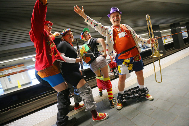 Members of the Seed and Feed Marching Abominable band Eugene Grayson (from left), Cecilia Matthis, Britt Williams, and Charles Bohanan get into the spirit of the event showing off their underpants during the No Pants Subway Ride Atlanta 2014 event on MARTA, Sunday, January 12, 2014, in Atlanta. (Photo by Curtis Compton/Atlanta Journal & Constitution)
