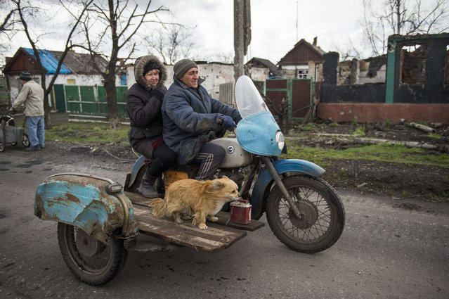 A couple and their dog ride a motorbike with a side-car in the village of Nikishino on April 21, 2015 in the self-proclaimed Donetsk People's Republic (DNR). Only a handful stayed during the fighting here and as people returned to the village counting some 450 houses they found some 240 of those reduced to rubble or had been destroyed beyond repair. (Photo by Odd Andersen/AFP Photo)