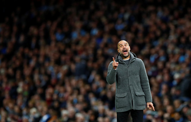 Josep Guardiola, Manager of Manchester City reacts during the Premier League match between Manchester City and Leicester City at Etihad Stadium on May 06, 2019 in Manchester, United Kingdom. (Photo by Jason Cairnduff/Action Images via Reuters)