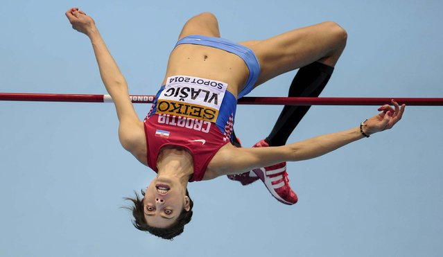 Croatia's Blanka Vlasic makes an attempt in the qualification for the women's high jump during the Athletics Indoor World Championships in Sopot, Poland, on March 7, 2014. (Photo by Alik Keplicz/Associated Press)
