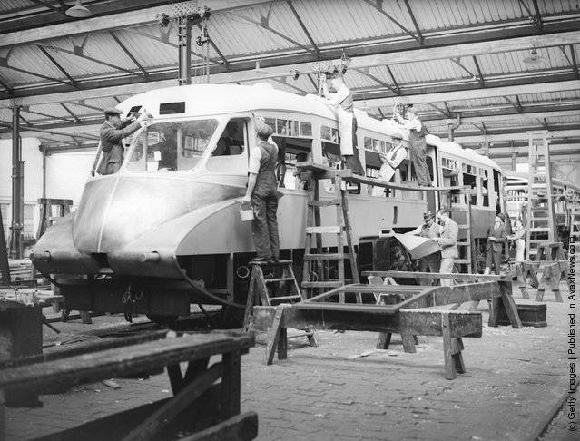 1935: A Great Western Railways streamlined train under construction at the Swindon Works