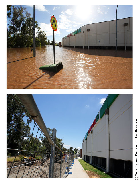 In this composite image (top) flood damage is seen in the Toowoomba central business district on January 10, 2011 and (bottom) the same location as seen on January 5, 2012 in Toowoomba, Australia