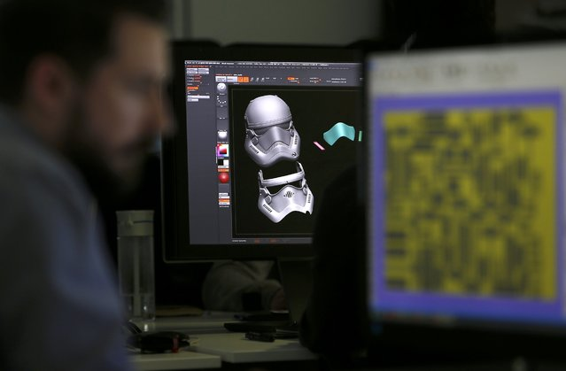An image of Finn's Stormtrooper Helmet from Star Wars:  The Force Awakens, can be seen on a computer screen in the Digital section of Propshop, at Pinewood studios, near London, Britain May 25, 2016. (Photo by Peter Nicholls/Reuters)
