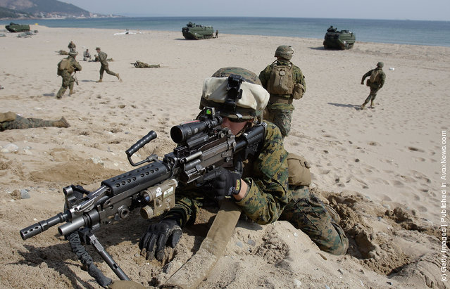 South Korea And U.S. Marines Conduct Landing Exercise
