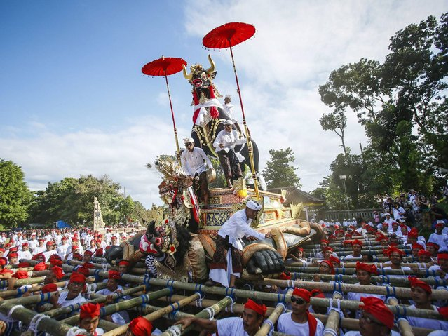 Balinese transport a sarcophagus in the form of a bull to a cemetary during a grand royal cremation of the Klungkung royal family member, Ida Dewa Agung Istri Putra, in Klungkung, Bali, Indonesia, 29 Juni 2014. Cremation is an essential rite of passage for Balinese Hindus, as it is considered a means of releasing the soul from the body so that it can be reincarnated. (Photo by Made Nagi/EPA)