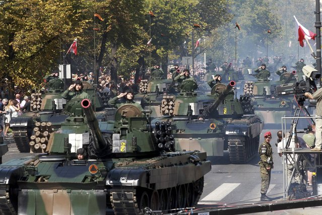 Tanks are seen at a military parade during Armed Forces Day in Warsaw, Poland August 15, 2015. (Photo by Przemyslaw Wierzchowski/Reuters/Agencja Gazeta)