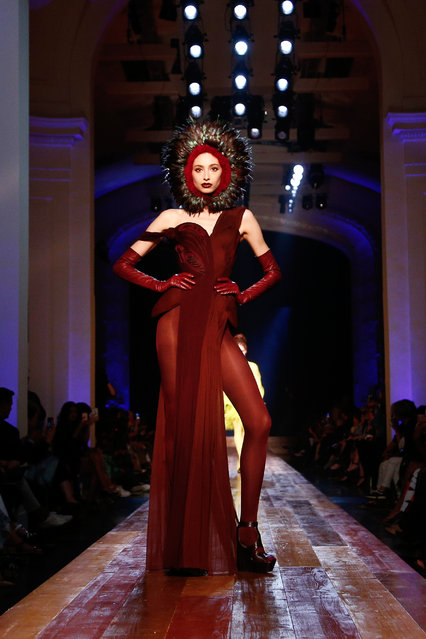A model wears a creation for Jean-Paul Gaultier's Haute Couture Fall-Winter 2016-2017 fashion collection presented Wednesday, July 6, 2016 in Paris. (Photo by Thibault Camus/AP Photo)