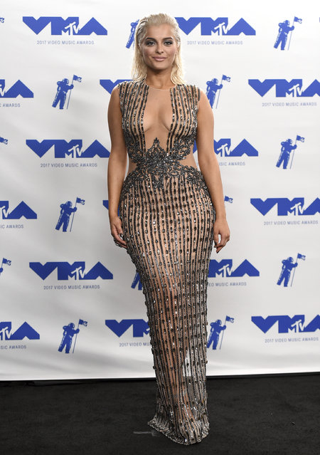 Bebe Rexha poses in the press room at the MTV Video Music Awards at The Forum on Sunday, August 27, 2017, in Inglewood, Calif. (Photo by Jordan Strauss/Invision/AP Photo)
