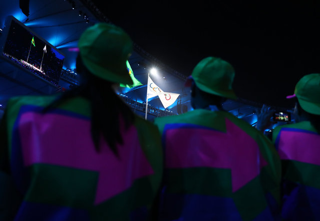2016 Rio Olympics, Opening ceremony, Maracana, Rio de Janeiro, Brazil on August 5, 2016. The Olympic flag is raised during the opening ceremony. (Photo by Kai Pfaffenbach/Reuters)