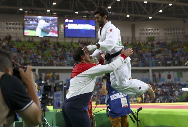 2016 Rio Olympics, Judo, Final, Men, 60 kg Final, Gold Medal Contest, Carioca Arena 2, Rio de Janeiro, Brazil on August 6, 2016. Beslan Mudranov (RUS) of Russia celebrates. (Photo by Kai Pfaffenbach/Reuters)