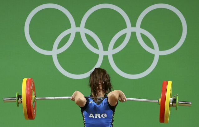 2016 Rio Olympics, Weightlifting, Final, Women's 63kg, Riocentro, Pavilion 2, Rio de Janeiro, Brazil on August 9, 2016. Joana Palacios (ARG) of Argentina competes. (Photo by Yves Herman/Reuters)