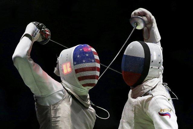 Rio Olympics, Fencing, Semifinal, Men's Foil Team Semifinals, Carioca Arena 3, Rio de Janeiro, Brazil on August 12, 2016. Gerek Meinhardt (USA) of USA competes with Artur Akhmatkhuzin (RUS) of Russia. (Photo by Issei Kato/Reuters)