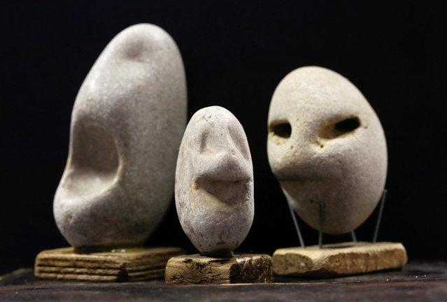Stones collected and categorised by shape (faces) are seen at the home workshop of stone collector Luigi Lineri in Zevio, near Verona, Italy, June 10, 2016. (Photo by Alessandro Bianchi/Reuters)