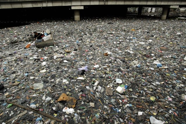 An Indonesian man on a boat salvages scrap items in a river choked with trash in Surabaya city in East Java province on October 17, 2012. (Photo by Juni Kriswanto/AFP Photo)