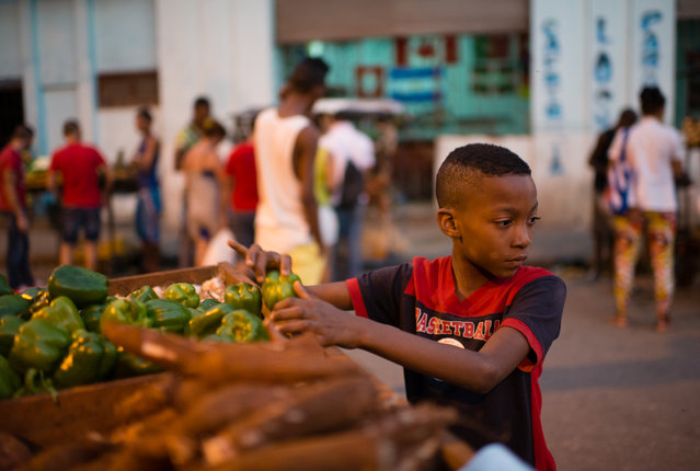 Anet Arley, Abad Alfonso sells produce in the Old Havana Neighborhood. (Photo by Sarah L. Voisin/The Washington Post)
