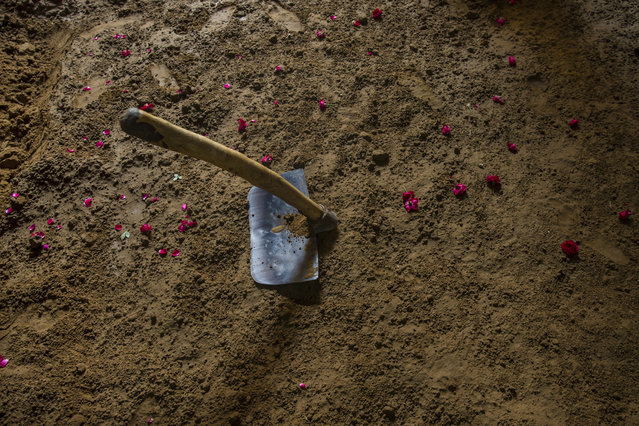 In this November 20, 2017 photo, a spade and flowers from the weekly prayers are seen inside the ring at an akhada, a kind of wrestling hostel at Sabzi Mandi, in New Delhi, India. (Photo by Dar Yasin/AP Photo)