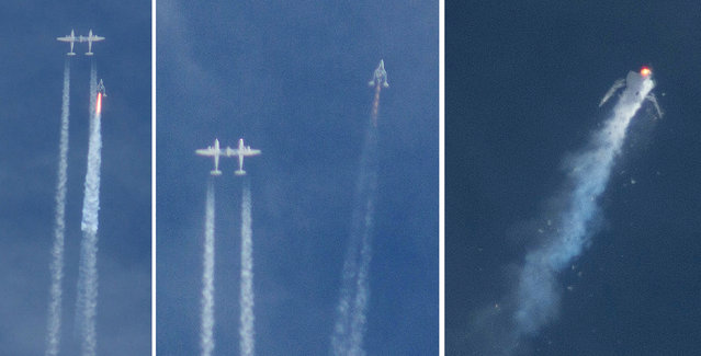 This three image combo photo shows the Virgin Galactic SpaceShipTwo rocket separating from the carrier aircraft, left, prior to it exploding in the air, right, during a test flight on Friday, October 31, 2014. The Virgin Galactic rocket that exploded during a test flight, killed a pilot aboard and seriously injured another while scattering wreckage in Southern California's Mojave Desert, witnesses and officials said. (Photo by Kenneth Brown/AP Photo)