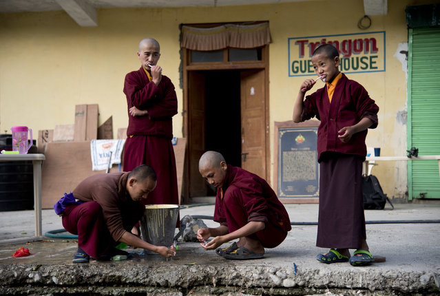 In this August 20, 2016, photo, a group of young monks brush their teeth at the Kongri monastery, Spiti Valley, India. (Photo by Thomas Cytrynowicz/AP Photo)