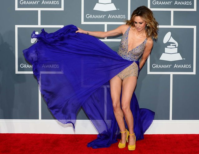 Model Keltie Colleen arrives at the Staples Center for the 55th Grammy Awards in Los Angeles, California, February 10, 2013. (Photo by Frederic J. Brown/AFP Photo)
