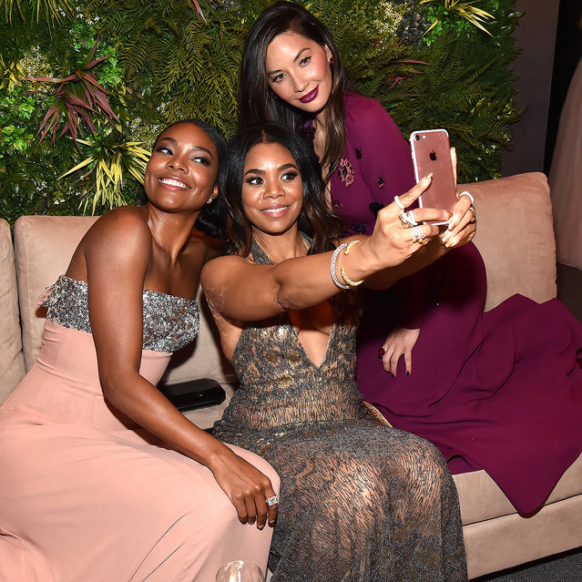 Gabrielle Union, Regina Hall and Olivia Munn attend the 2018 Vanity Fair Oscar Party hosted by Radhika Jones at Wallis Annenberg Center for the Performing Arts on March 4, 2018 in Beverly Hills, California. (Photo by Kevin Mazur/VF18/WireImage)