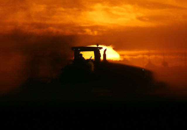 A man drives a tractor plowing a field at sunrise near Calexico, California, United States, October 8, 2016. (Photo by Mike Blake/Reuters)