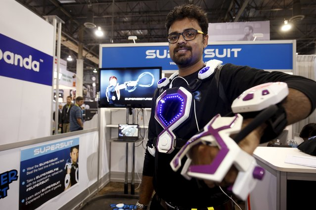 Rajat Dhariwal of MadRat Games models a SuperSuit during the 2016 CES trade show in Las Vegas, Nevada January 8, 2016. The SuperSuit is a wearable gaming platform that can be used to play games like laser tag and capture the flag but can be also be used to control devices like remote-controlled cars. (Photo by Steve Marcus/Reuters)