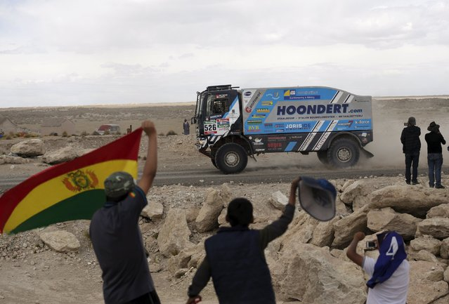 Adwin Hondert of the Netherlands drives his DAF truck during the Dakar Rally 2016 in Chulluquiani, Oruro Department, Bolivia, January 8, 2016. (Photo by David Mercado/Reuters)