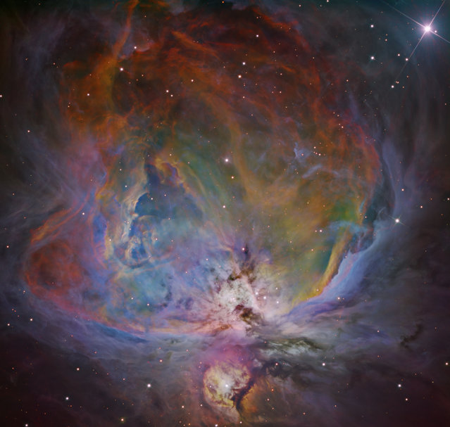 Astronomy runner-up: The Orion Nebula by Bernard Miller. An image of the Orion nebula processed with a six-filter colour mapping process. The process combines data from six filters (red, green, blue, Ha, SII and OIII). The image is a combination of over 39 hours of exposure over a span of six weeks at Dark Sky New Mexico, USA. (Photo by Bernard Miller/Royal Society Publishing Photography Competition 2018)