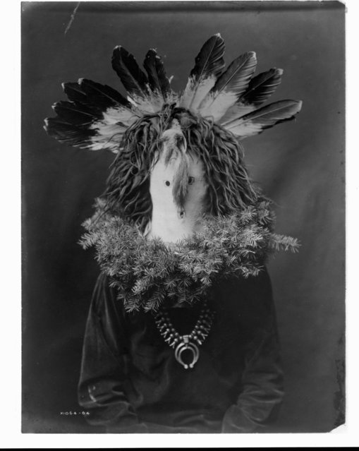A photograph of a figure representing Haschogan, the Navajo house god, published in Volume I of The North American Indian (1907) by Edward S. Curtis. (Photo by Edward S. Curtis/Library of Congress/Corbis/VCG via Getty Images)