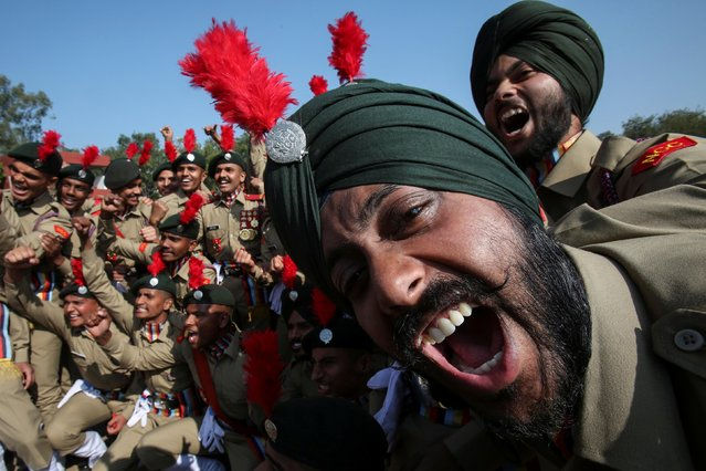 Cadets from the National Cadet Corps (NCC) celebrate after being awarded the second place in a marching competition during the Republic Day celebrations in Chandigarh, January 26, 2019. (Photo by Ajay Verma/Reuters)