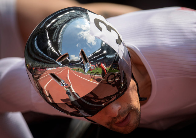 Reflections in the helmet of Marcel Hug of Switzerland at the start of his T54 1500m heat at the Tokyo 2020 Paralympic Games at the Olympic Stadium in Tokyo on August 31, 2021 – he went on to finish first in a new Games record. (Photo by Joel Marklund for OIS/PA Wire Press Association)