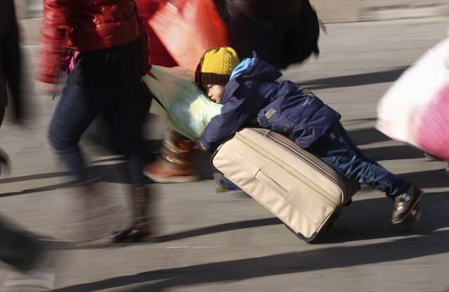 A person drags a suitcase as a boy clings to it on a square in front of a railway station ahead of the Chinese Lunar New Year in Qingdao, Shandong province, January 28, 2014. About 3.62 billion trips will be made during the 40-day Spring Festival travel rush, which started from January 16, reported Xinhua News Agency citing a government official. (Photo by Reuters/China Daily)