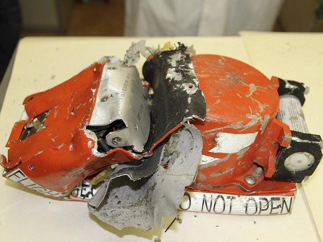 A flight recorder from the crashed Boeing 737-800 Flight FZ981 operated by Dubai-based budget carrier Flydubai, is seen in Moscow, Russia, in this handout image released by the Russia's Interstate Aviation Committee on March 20, 2016. (Photo by Reuters/Interstate Aviation Committee)