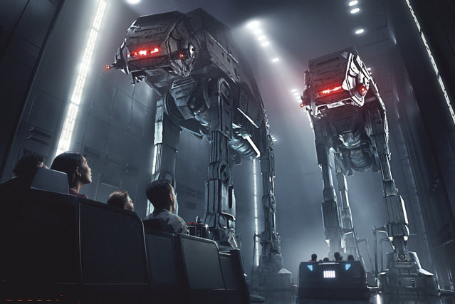 This rendering released by Disney and Lucasfilm shows people on the planned Star Wars: Rise of the Resistance attraction, part of Star Wars: Galaxy's Edge. The 14-acre area set to open this summer at the Disneyland Resort in Anaheim, California, then in the fall at Disney's Hollywood Studios in Orlando, Florida. (Photo by Disney Parks/Lucasfilm via AP Photo)