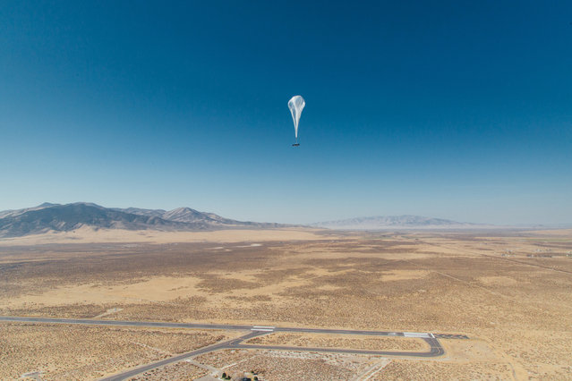 A Loon internet balloon, carrying solar-powered mobile networking equipment flies over the company's launch site in Winnemucca, Nevada, U.S., in this photo provided June 27, 2019. (Photo by Courtesy Loon/Handout via Reuters)