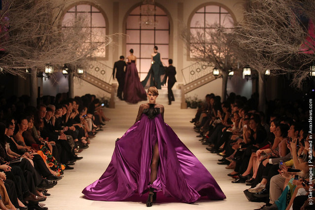 A model showcases The Bride by Stephane Rolland on the catwalk as part of Women's Fashion Week Haute Couture