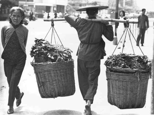 1960:  In a Kowloon street a bare-footed woman carries two large panniers of vegetables on a yoke across her shoulders