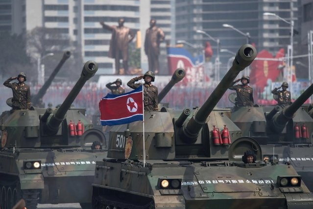 Korean People' s Army (KPA) tanks are displayed during a military parade marking the 105 th anniversary of the birth of late North Korean leader Kim Il- Sung, in Pyongyang on April 15, 2017. (Photo by Ed Jones/AFP Photo)