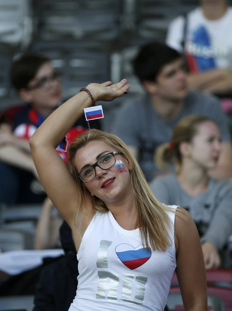 Football Soccer, Russia vs Wales, EURO 2016, Group B, Stadium de Toulouse, Toulouse, France on June 20, 2016. A Russian fan before the match. (Photo by Sergio Perez/Reuters)