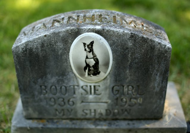 """The headstone and tile photo of """"Bootsie Girl"""" is seen at the Aspin Hill Memorial Park in Aspen Hill, Maryland August 25, 2015. (Photo by Gary Cameron/Reuters)"""