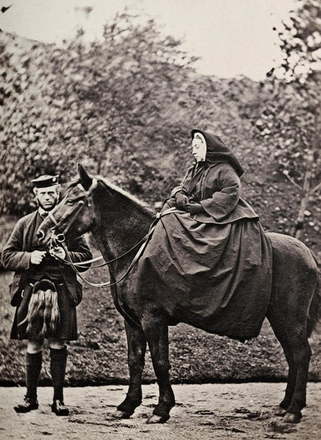 Queen Victoria (1819 - 1901) with John Brown (1826 - 1883) at Balmoral. Brown was born in Craithenaird. He was Queen Victoria's personal servant and was first mentioned in her journal in 1849. Queen Victoria often stayed at Balmoral after the death of her beloved Prince Albert in 1861 and became such close friends with John Brown that their relationship caused scandal throughout the court and government of the time. (Photo by Hulton Archive/Getty Images)