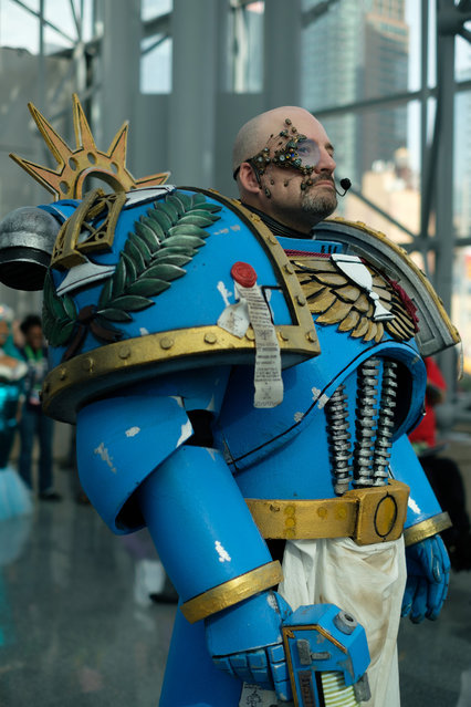 Craig McPherson, from Manhattan, owns a pet store is dressed as Brother-Captain Saganus from The Champions of Charity during the 2017 New York Comic Con Day 3 on October 7, 2017 in New York City. (Photo by Gabriella Bass)
