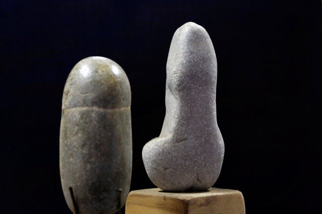 Stones collected and categorised by shape (male genitalia) are seen at the home workshop of stone collector Luigi Lineri in Zevio, near Verona, Italy, June 10, 2016. (Photo by Alessandro Bianchi/Reuters)