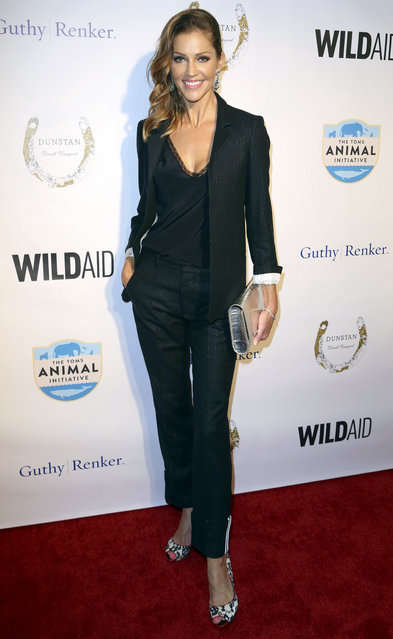"Tricia Helfer arrives at ""An Evening with WildAid"" event at the Beverly Wilshire hotel on Saturday, November 11, 2017, in Beverly Hills, Calif. (Photo by Willy Sanjuan/Invision/AP Photo)"