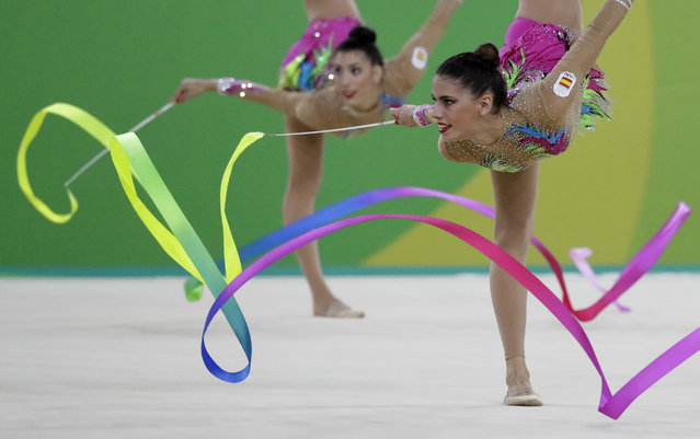 Team Spain performs during the rhythmic gymnastics group all-around final at the 2016 Summer Olympics in Rio de Janeiro, Brazil, Sunday, August 21, 2016. (Photo by Julio Cortez/AP Photo)