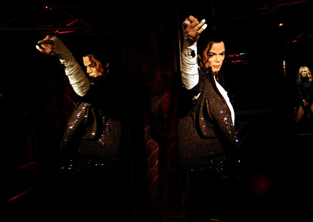 A wax figure of American Former singer Michael Jackson is seen during the press preview of the Madame Tussauds Wax Museum in New Delhi, India on November 30, 2017. New Delhi's Madam Tussauds Museum has become the 23rd Madam Tussauds Museum worldwide and will host wax statues of Indian and international icons. (Photo by Imtiyaz Khan /Anadolu Agency/Getty Images)