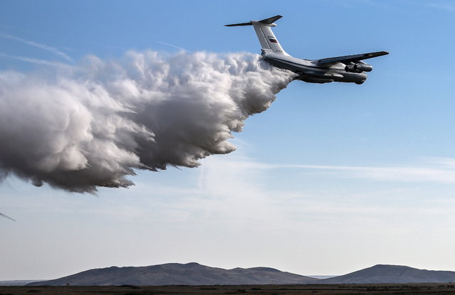 An Ilyushin IL-76MD military transport aircraft during the Caucasus 2016 strategic drills at Opuk range of Russia's Southern Military District. (Photo by Sergei Savostyanov/TASS via Getty Images)
